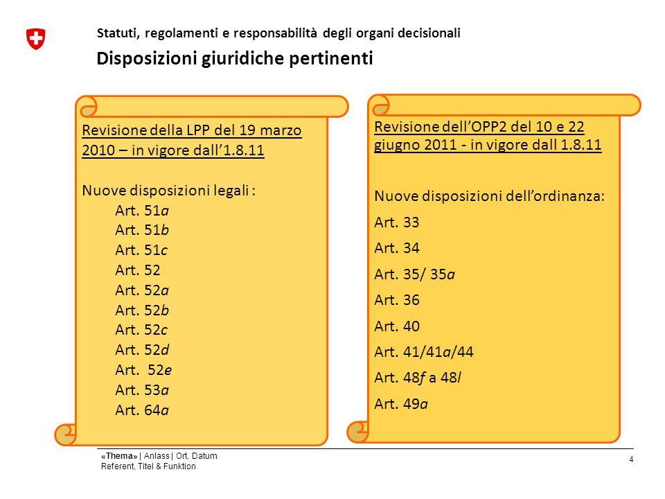 4 «Thema» | Anlass | Ort, Datum Referent, Titel & Funktion Disposizioni giuridiche pertinenti Statuti, regolamenti e responsabilità degli organi decisionali Revisione della LPP del 19 marzo 2010 – in vigore dall1.8.11 Nuove disposizioni legali : Art.