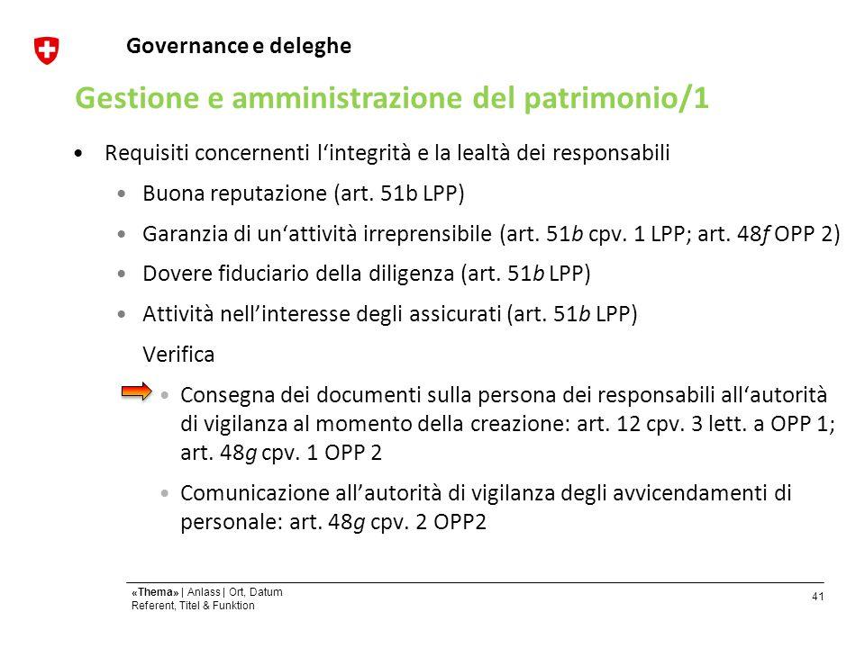 41 «Thema» | Anlass | Ort, Datum Referent, Titel & Funktion Governance e deleghe Requisiti concernenti lintegrità e la lealtà dei responsabili Buona reputazione (art.