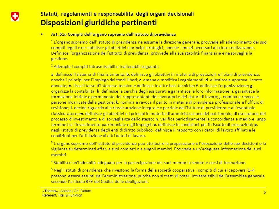 5 «Thema» | Anlass | Ort, Datum Referent, Titel & Funktion Statuti, regolamenti e responsabilità degli organi decisionali Disposizioni giuridiche pertinenti Art.