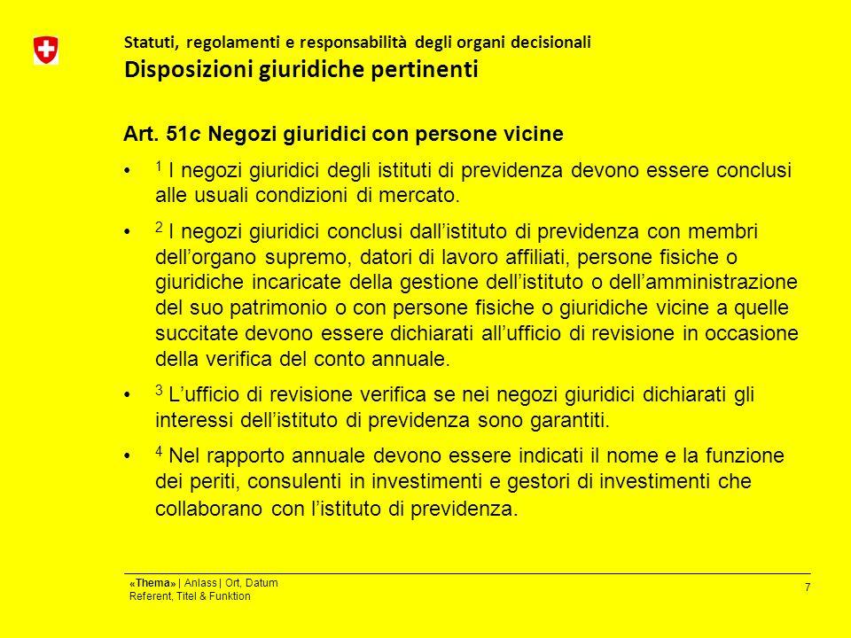 7 «Thema» | Anlass | Ort, Datum Referent, Titel & Funktion Statuti, regolamenti e responsabilità degli organi decisionali Disposizioni giuridiche pertinenti Art.