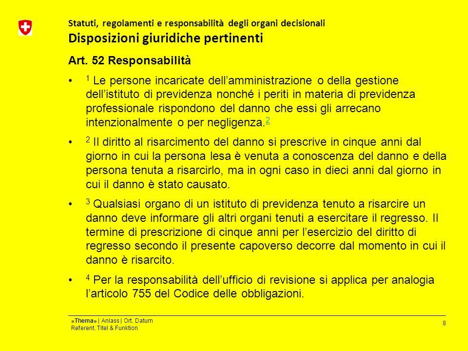 8 «Thema» | Anlass | Ort, Datum Referent, Titel & Funktion Statuti, regolamenti e responsabilità degli organi decisionali Disposizioni giuridiche pertinenti Art.