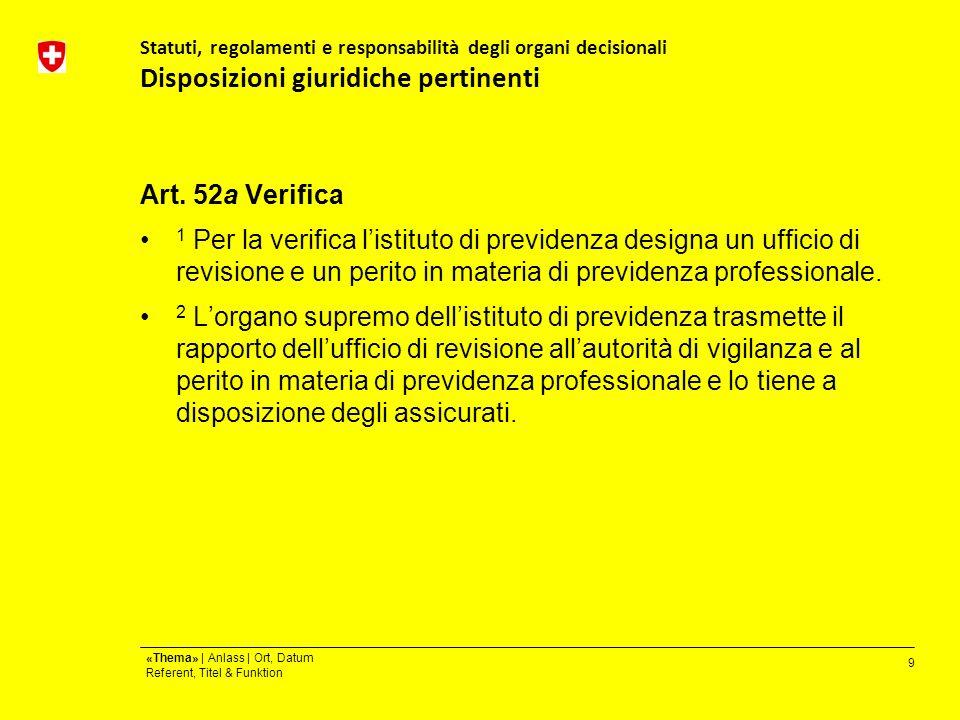 9 «Thema» | Anlass | Ort, Datum Referent, Titel & Funktion Statuti, regolamenti e responsabilità degli organi decisionali Disposizioni giuridiche pertinenti Art.