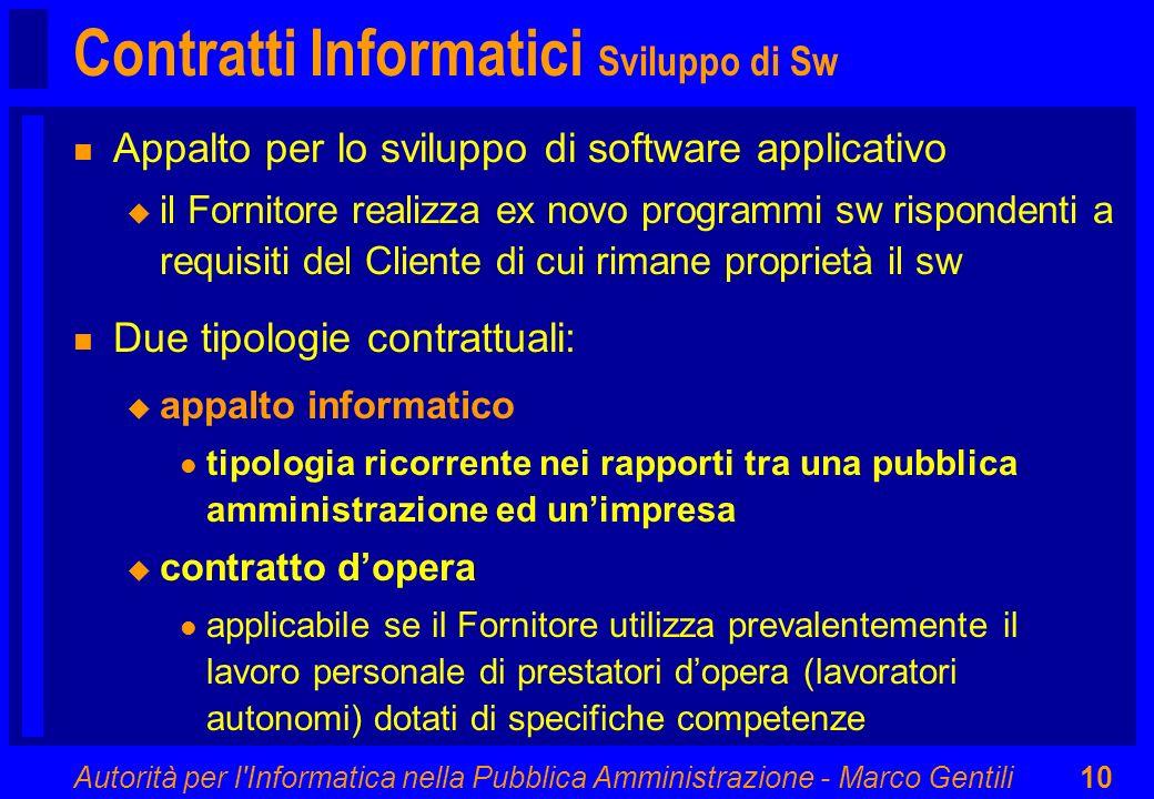 Autorità per l'Informatica nella Pubblica Amministrazione - Marco Gentili10 Contratti Informatici Sviluppo di Sw n Appalto per lo sviluppo di software