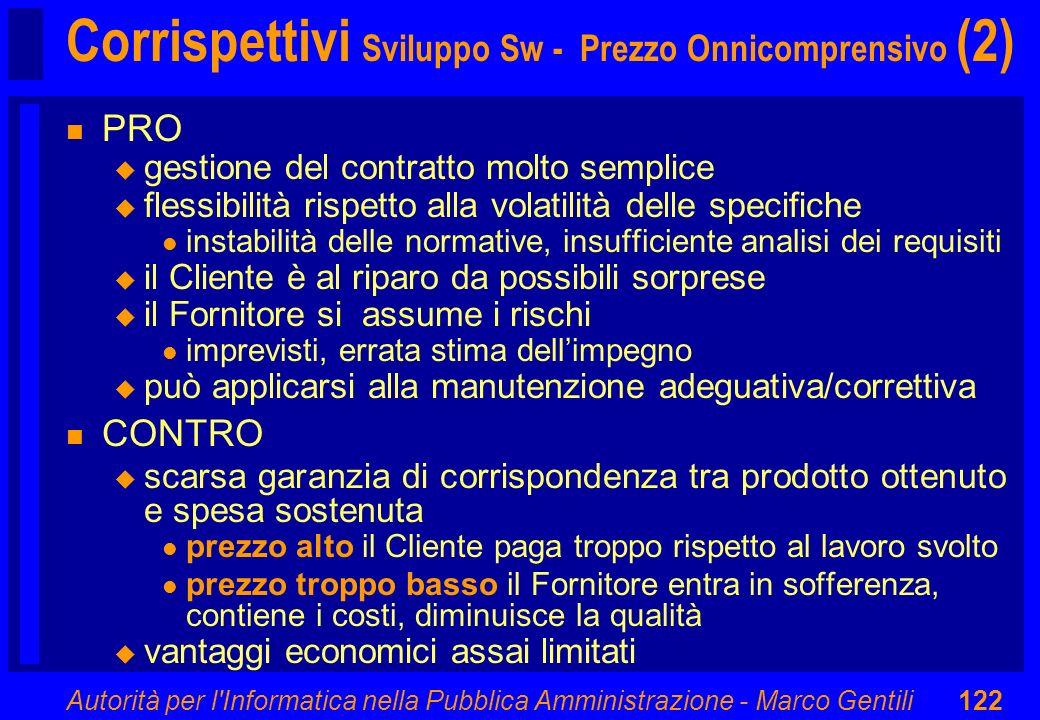 Autorità per l'Informatica nella Pubblica Amministrazione - Marco Gentili122 Corrispettivi Sviluppo Sw - Prezzo Onnicomprensivo (2) n PRO u gestione d