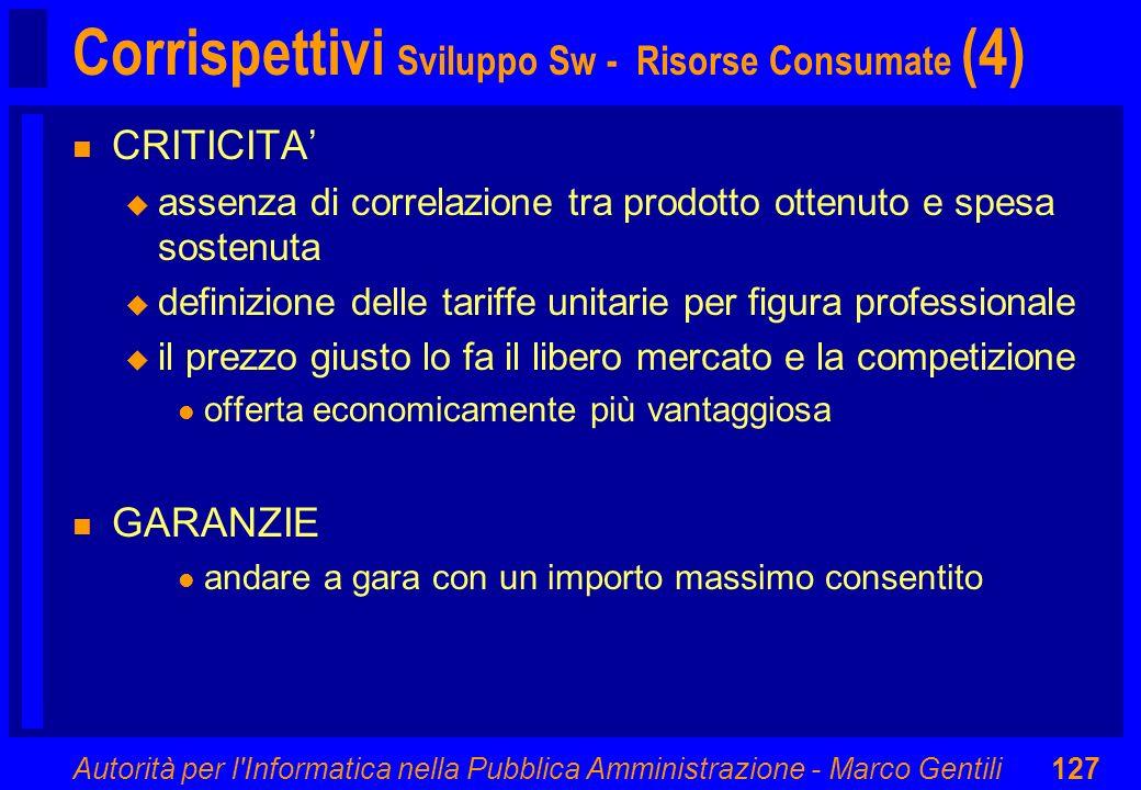 Autorità per l'Informatica nella Pubblica Amministrazione - Marco Gentili127 Corrispettivi Sviluppo Sw - Risorse Consumate (4) n CRITICITA u assenza d