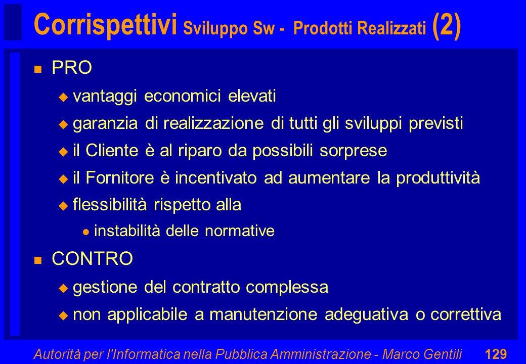 Autorità per l'Informatica nella Pubblica Amministrazione - Marco Gentili129 Corrispettivi Sviluppo Sw - Prodotti Realizzati (2) n PRO u vantaggi econ