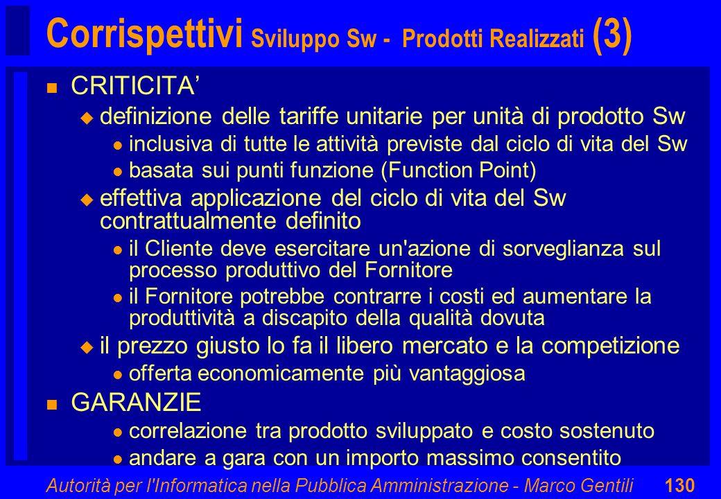 Autorità per l'Informatica nella Pubblica Amministrazione - Marco Gentili130 Corrispettivi Sviluppo Sw - Prodotti Realizzati (3) n CRITICITA u definiz