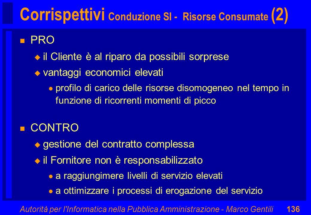Autorità per l'Informatica nella Pubblica Amministrazione - Marco Gentili136 Corrispettivi Conduzione SI - Risorse Consumate (2) n PRO u il Cliente è