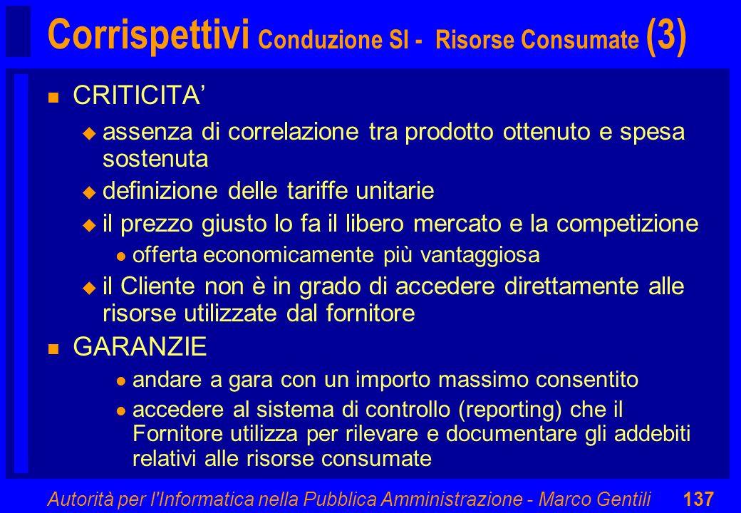 Autorità per l'Informatica nella Pubblica Amministrazione - Marco Gentili137 Corrispettivi Conduzione SI - Risorse Consumate (3) n CRITICITA u assenza