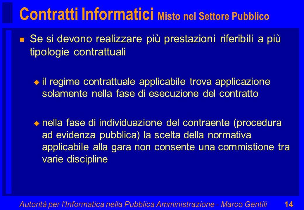 Autorità per l'Informatica nella Pubblica Amministrazione - Marco Gentili14 Contratti Informatici Misto nel Settore Pubblico n Se si devono realizzare