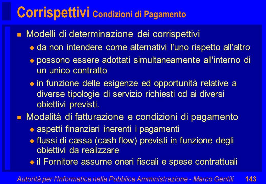 Autorità per l'Informatica nella Pubblica Amministrazione - Marco Gentili143 Corrispettivi Condizioni di Pagamento n Modelli di determinazione dei cor