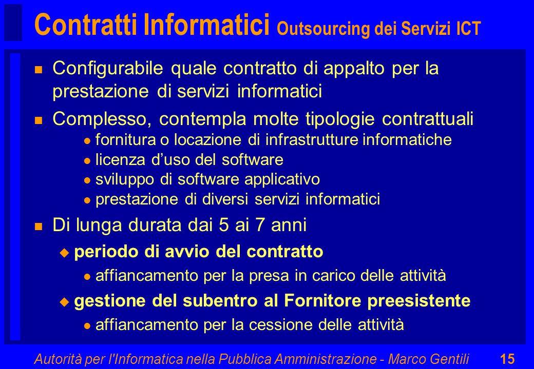 Autorità per l'Informatica nella Pubblica Amministrazione - Marco Gentili15 Contratti Informatici Outsourcing dei Servizi ICT n Configurabile quale co