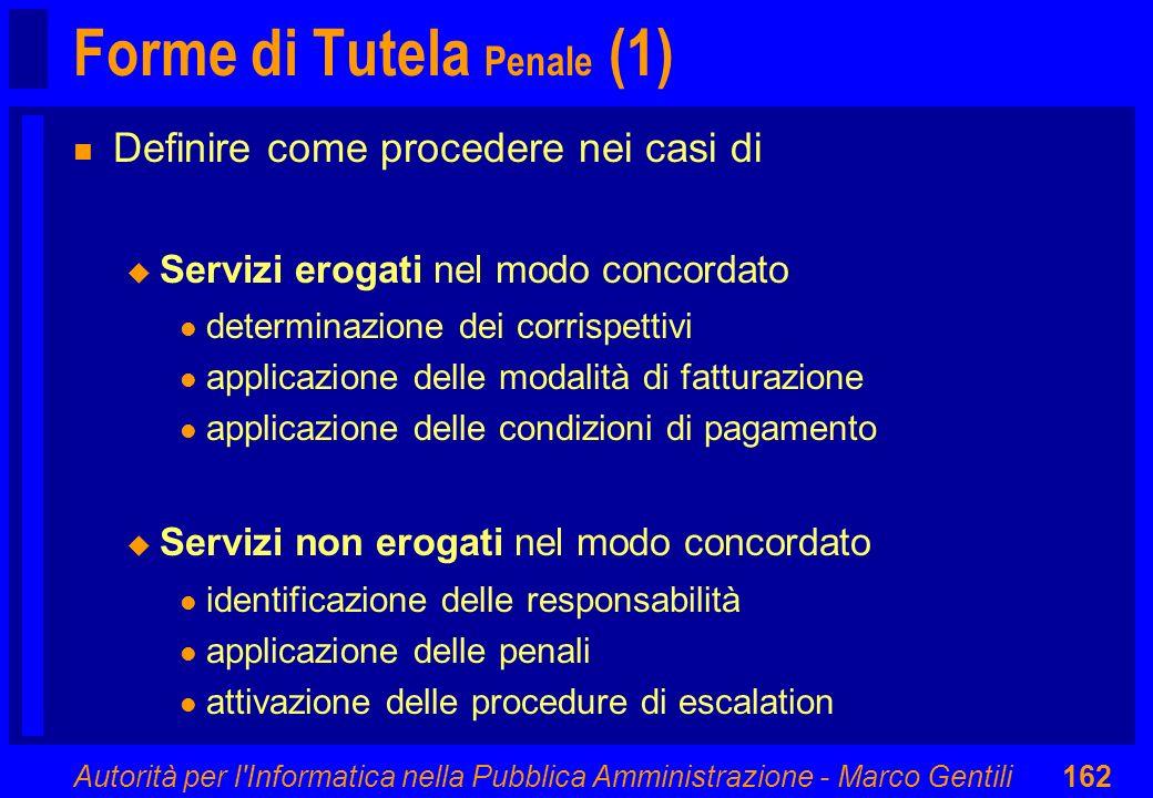 Autorità per l'Informatica nella Pubblica Amministrazione - Marco Gentili162 Forme di Tutela Penale (1) n Definire come procedere nei casi di u Serviz