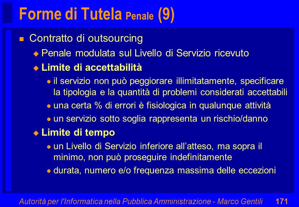 Autorità per l'Informatica nella Pubblica Amministrazione - Marco Gentili171 Forme di Tutela Penale (9) n Contratto di outsourcing u Penale modulata s