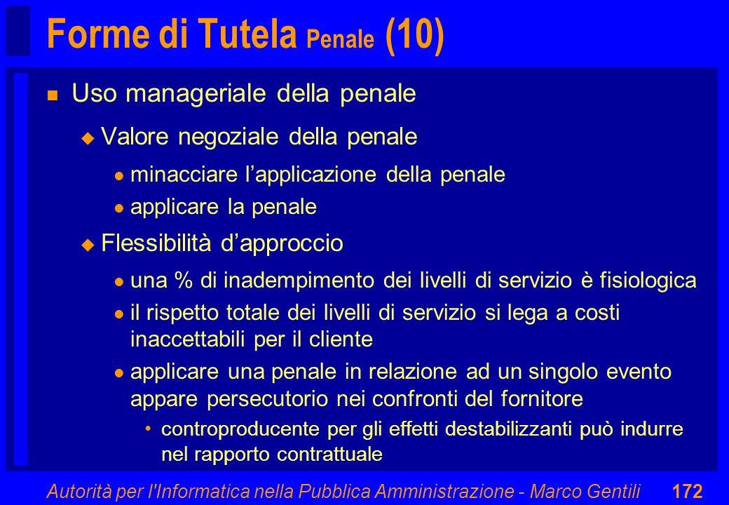 Autorità per l'Informatica nella Pubblica Amministrazione - Marco Gentili172 Forme di Tutela Penale (10) n Uso manageriale della penale u Valore negoz