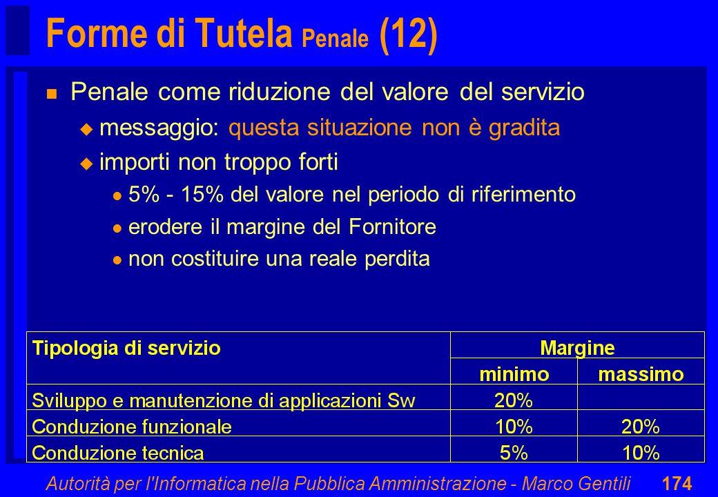 Autorità per l'Informatica nella Pubblica Amministrazione - Marco Gentili174 Forme di Tutela Penale (12) n Penale come riduzione del valore del serviz