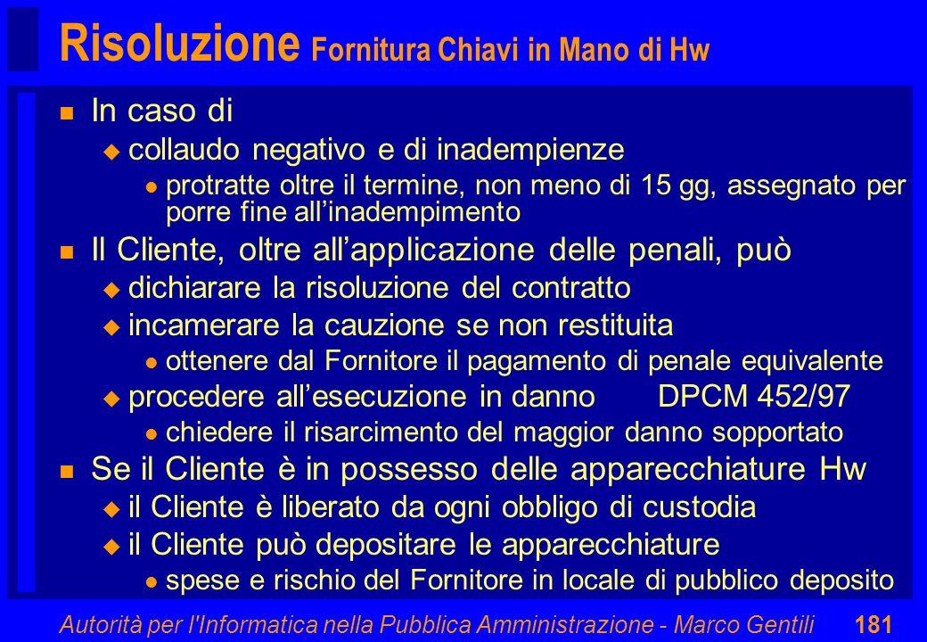 Autorità per l'Informatica nella Pubblica Amministrazione - Marco Gentili181 Risoluzione Fornitura Chiavi in Mano di Hw n In caso di u collaudo negati