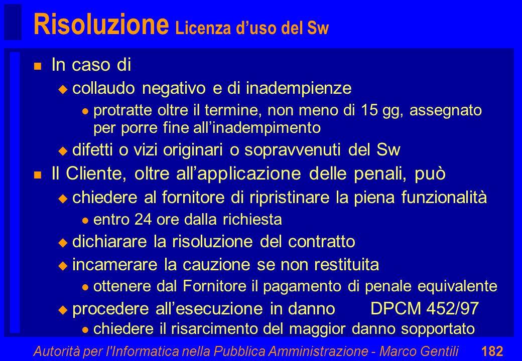 Autorità per l'Informatica nella Pubblica Amministrazione - Marco Gentili182 Risoluzione Licenza duso del Sw n In caso di u collaudo negativo e di ina