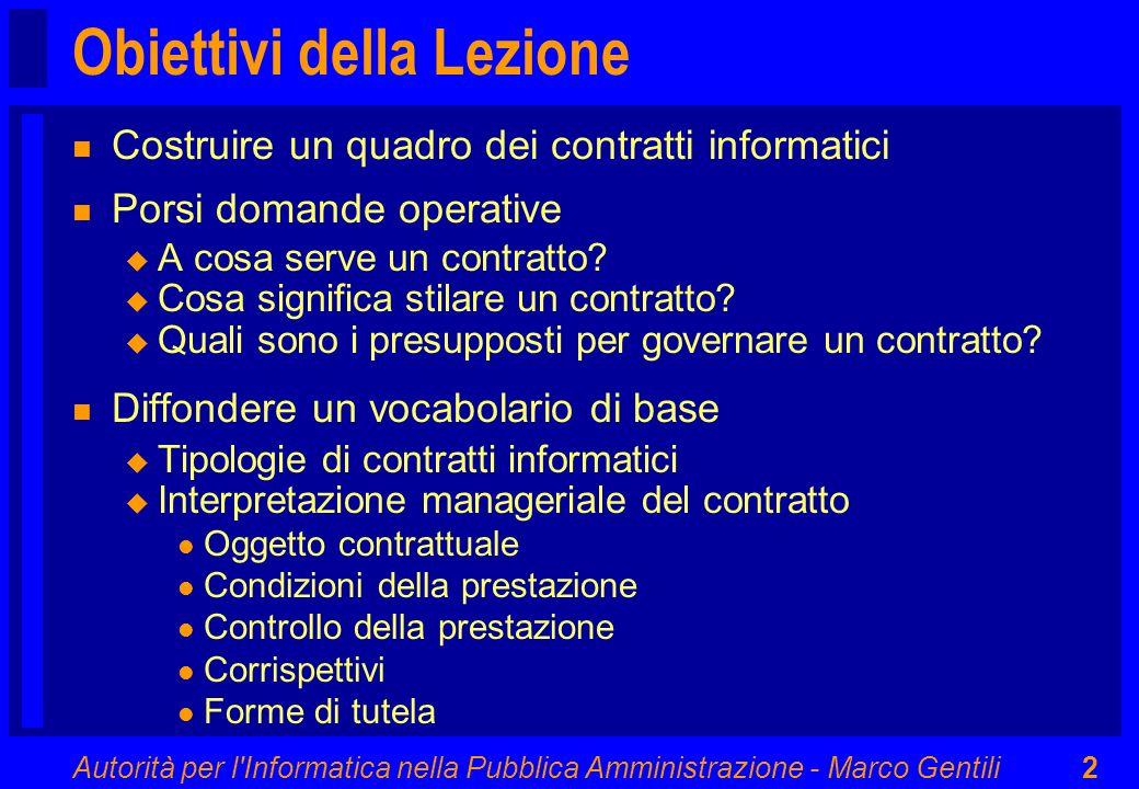 Autorità per l'Informatica nella Pubblica Amministrazione - Marco Gentili2 Obiettivi della Lezione n Costruire un quadro dei contratti informatici n P