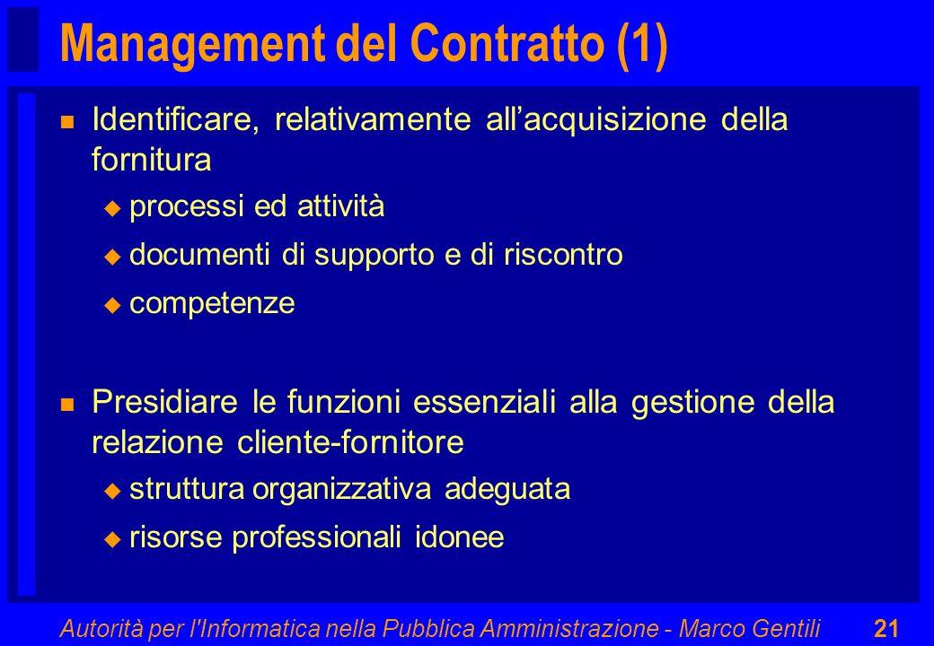 Autorità per l'Informatica nella Pubblica Amministrazione - Marco Gentili21 Management del Contratto (1) n Identificare, relativamente allacquisizione