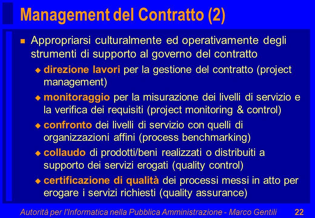 Autorità per l'Informatica nella Pubblica Amministrazione - Marco Gentili22 Management del Contratto (2) n Appropriarsi culturalmente ed operativament