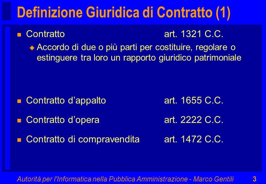 Autorità per l'Informatica nella Pubblica Amministrazione - Marco Gentili3 Definizione Giuridica di Contratto (1) n Contratto art. 1321 C.C. u Accordo