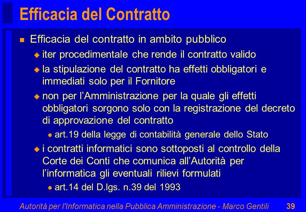 Autorità per l'Informatica nella Pubblica Amministrazione - Marco Gentili39 Efficacia del Contratto n Efficacia del contratto in ambito pubblico u ite