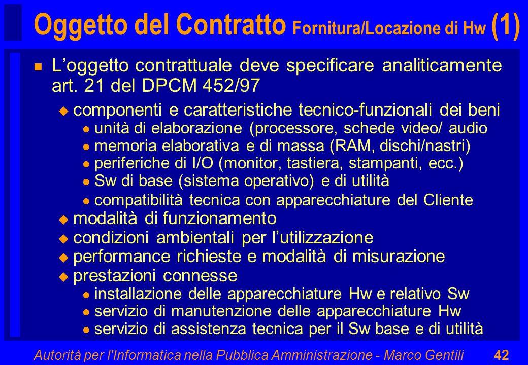 Autorità per l'Informatica nella Pubblica Amministrazione - Marco Gentili42 Oggetto del Contratto Fornitura/Locazione di Hw (1) n Loggetto contrattual