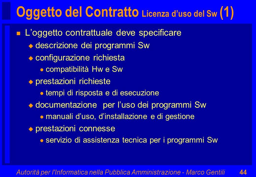 Autorità per l'Informatica nella Pubblica Amministrazione - Marco Gentili44 Oggetto del Contratto Licenza duso del Sw (1) n Loggetto contrattuale deve