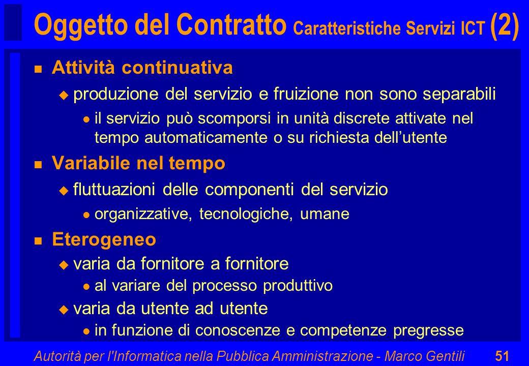 Autorità per l'Informatica nella Pubblica Amministrazione - Marco Gentili51 Oggetto del Contratto Caratteristiche Servizi ICT (2) n Attività continuat