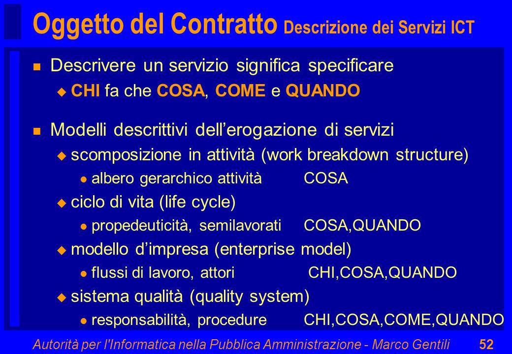 Autorità per l'Informatica nella Pubblica Amministrazione - Marco Gentili52 Oggetto del Contratto Descrizione dei Servizi ICT n Descrivere un servizio