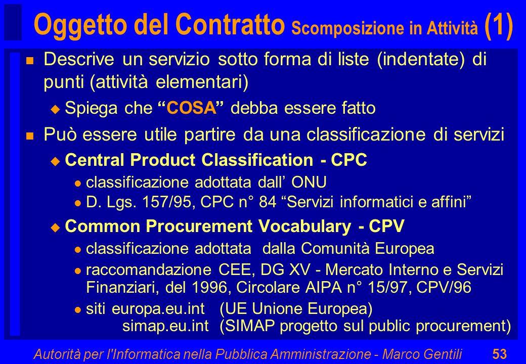 Autorità per l'Informatica nella Pubblica Amministrazione - Marco Gentili53 Oggetto del Contratto Scomposizione in Attività (1) n Descrive un servizio