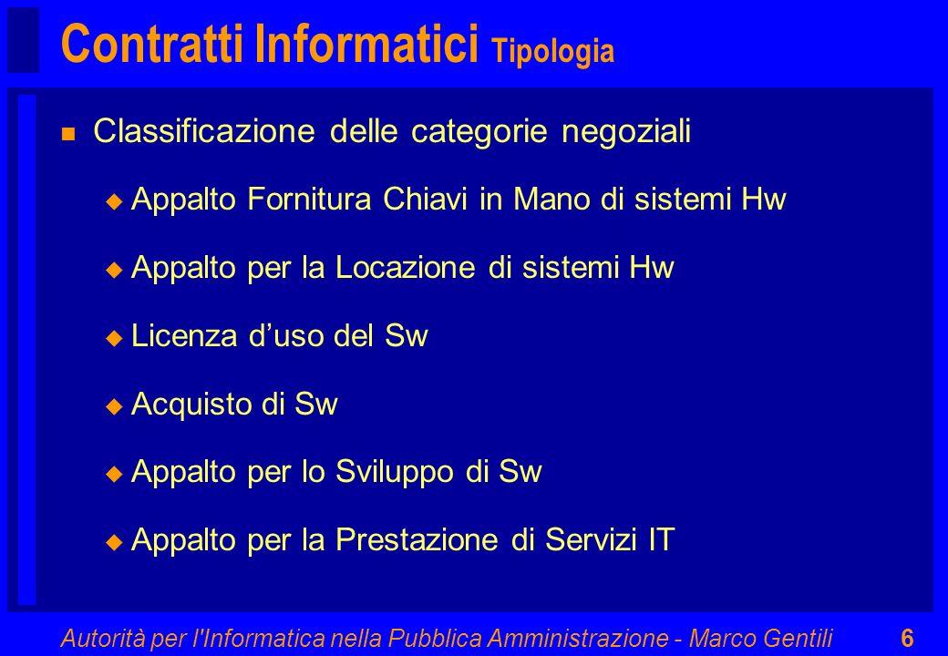 Autorità per l'Informatica nella Pubblica Amministrazione - Marco Gentili6 Contratti Informatici Tipologia n Classificazione delle categorie negoziali