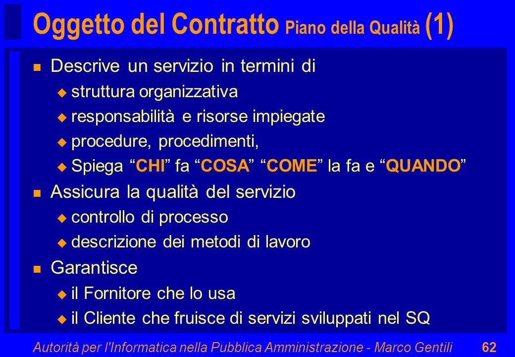 Autorità per l'Informatica nella Pubblica Amministrazione - Marco Gentili62 n Descrive un servizio in termini di u struttura organizzativa u responsab