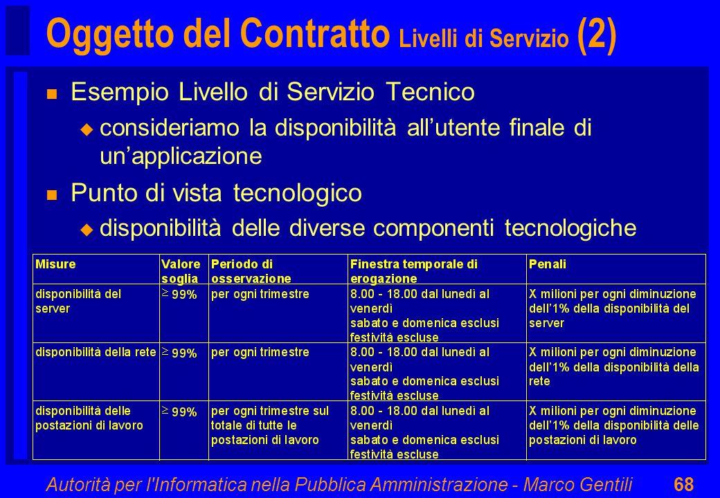 Autorità per l'Informatica nella Pubblica Amministrazione - Marco Gentili68 Oggetto del Contratto Livelli di Servizio (2) n Esempio Livello di Servizi