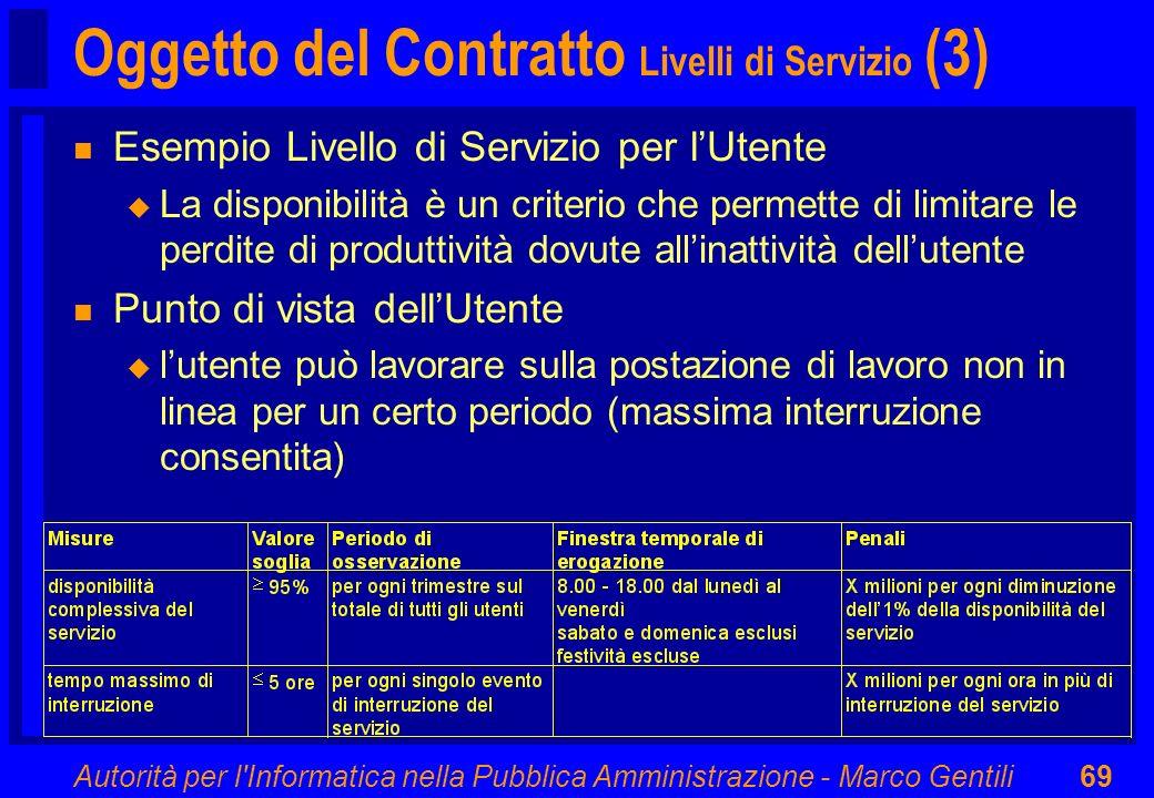 Autorità per l'Informatica nella Pubblica Amministrazione - Marco Gentili69 Oggetto del Contratto Livelli di Servizio (3) n Esempio Livello di Servizi