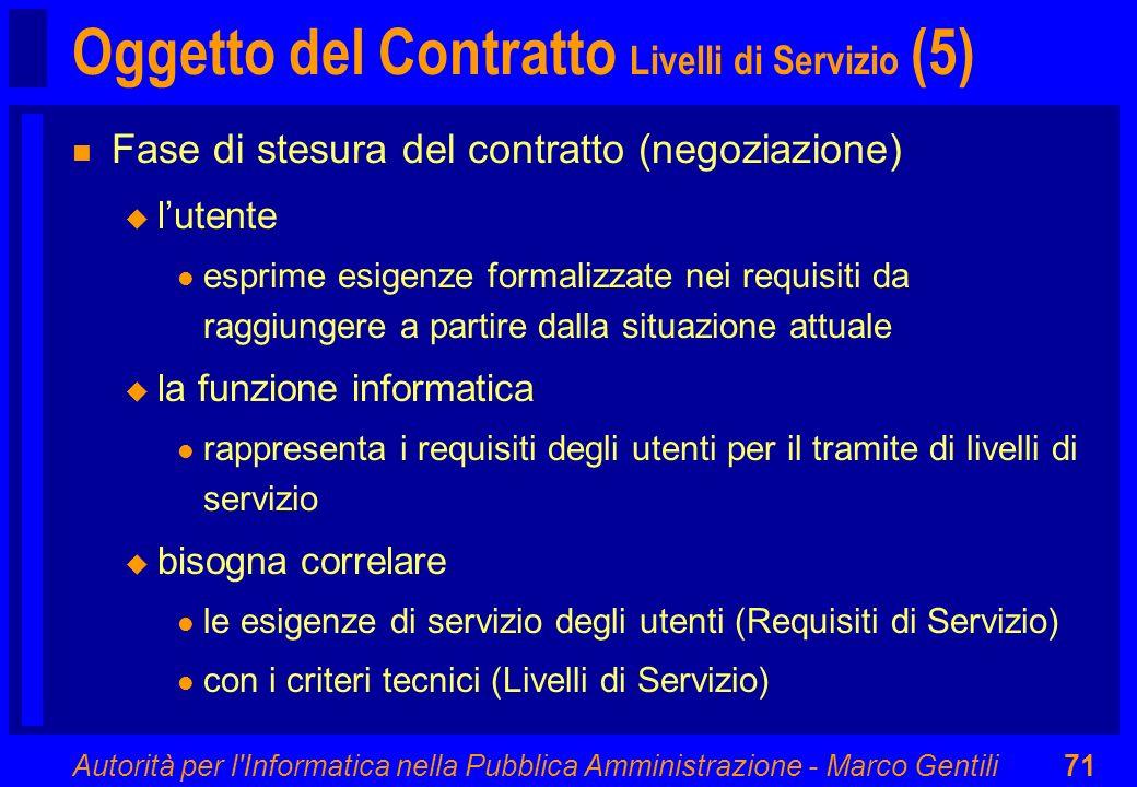 Autorità per l'Informatica nella Pubblica Amministrazione - Marco Gentili71 Oggetto del Contratto Livelli di Servizio (5) n Fase di stesura del contra