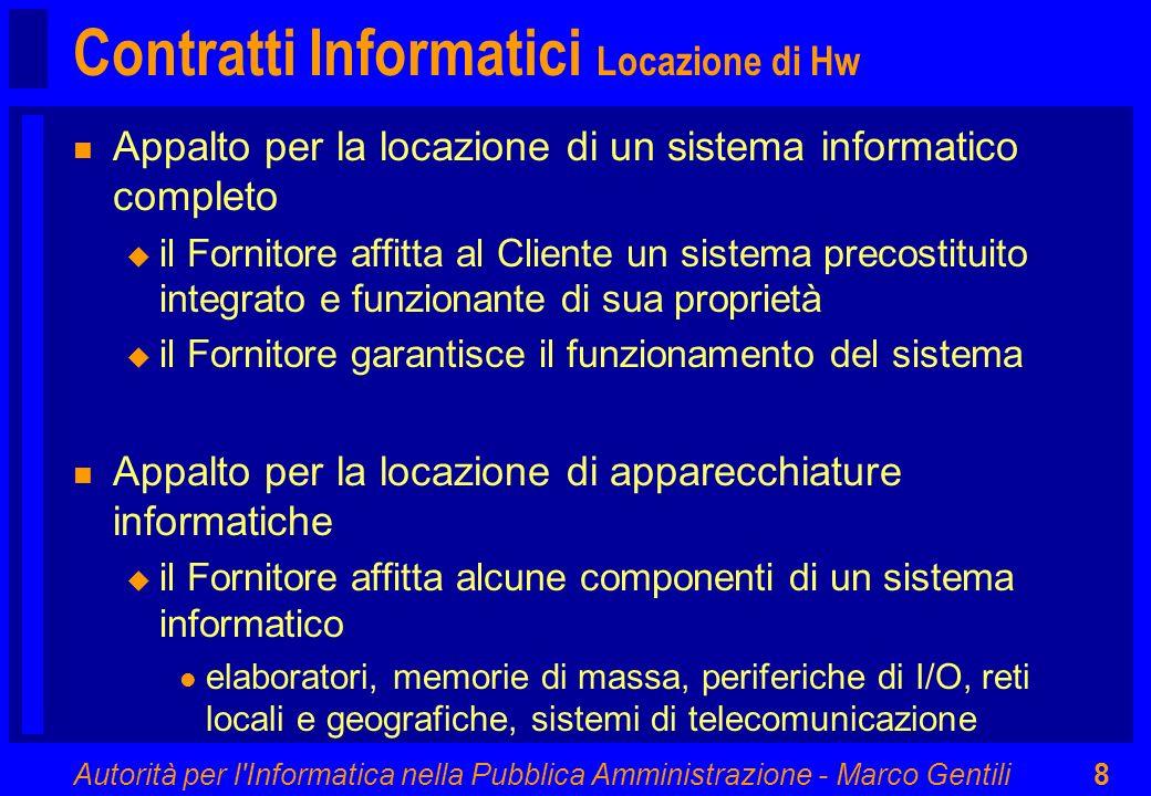 Autorità per l Informatica nella Pubblica Amministrazione - Marco Gentili89 Condizioni della Prestazione Risorse IT (1) n Risorse Tecnologiche u caratteristiche l adeguatezza l obsolescenza l aggiornamento u manutenzione di infrastrutture IT e applicazioni sw u verifiche periodiche mediante audit (3 - 12 mesi) l conformità ai requisiti funzionali l conformità ai requisiti dimensionali u procedure di gestione dei subfornitori l trasferimento degli obblighi contrattuali