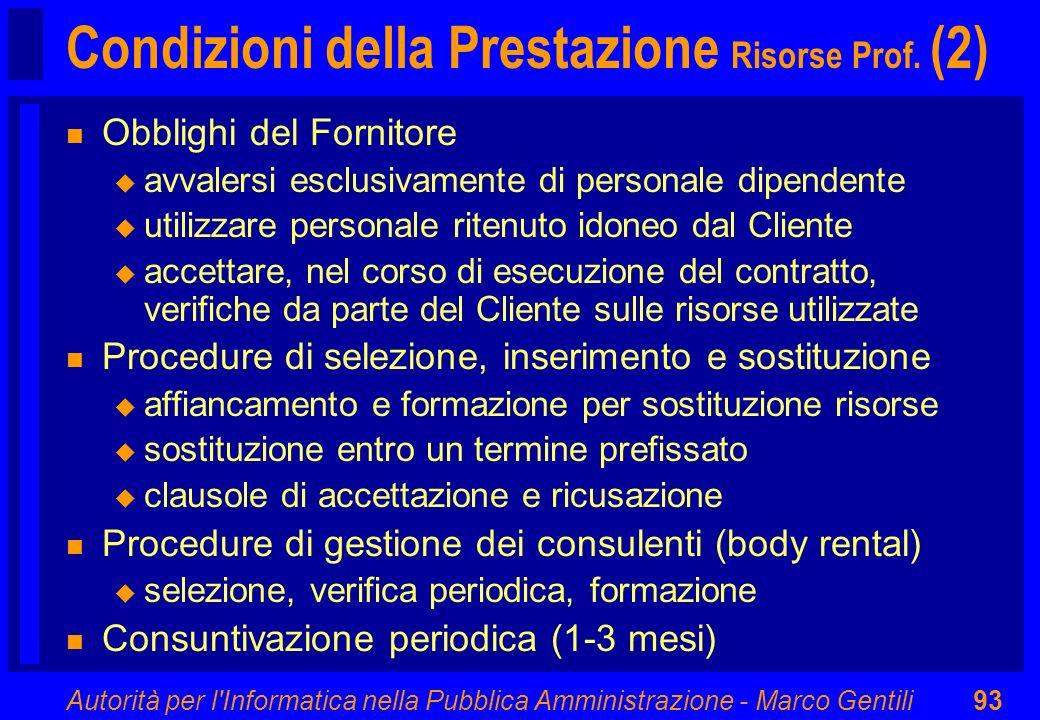 Autorità per l'Informatica nella Pubblica Amministrazione - Marco Gentili93 Condizioni della Prestazione Risorse Prof. (2) n Obblighi del Fornitore u
