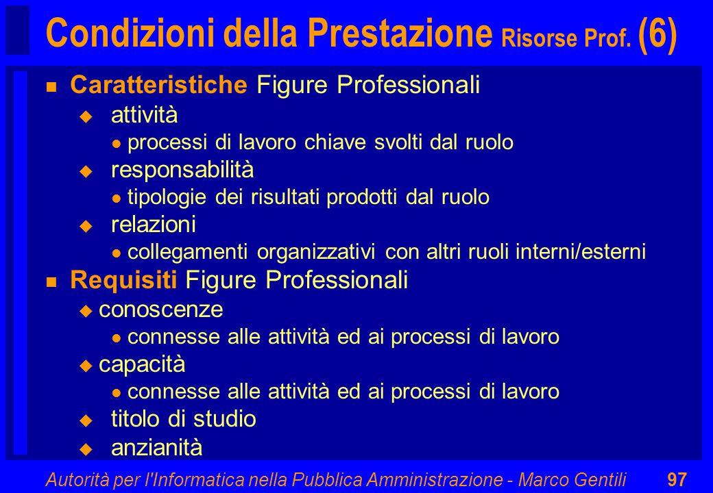 Autorità per l'Informatica nella Pubblica Amministrazione - Marco Gentili97 Condizioni della Prestazione Risorse Prof. (6) n Caratteristiche Figure Pr