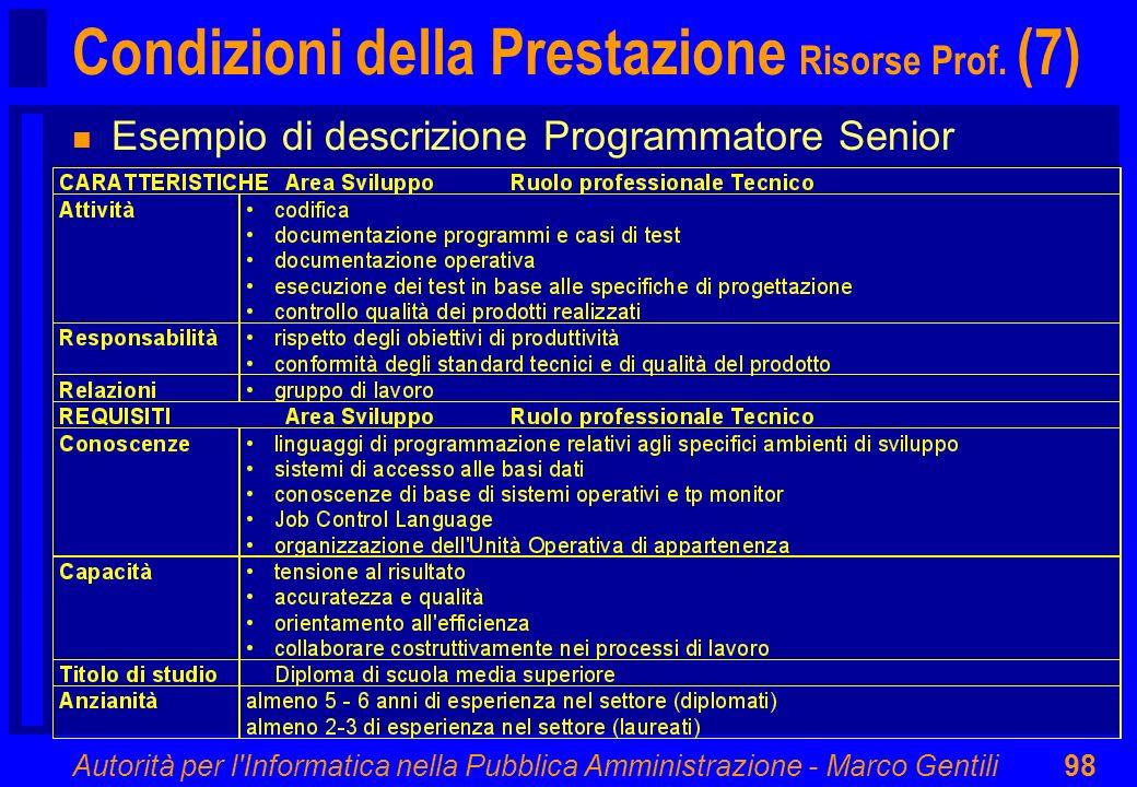 Autorità per l'Informatica nella Pubblica Amministrazione - Marco Gentili98 Condizioni della Prestazione Risorse Prof. (7) n Esempio di descrizione Pr