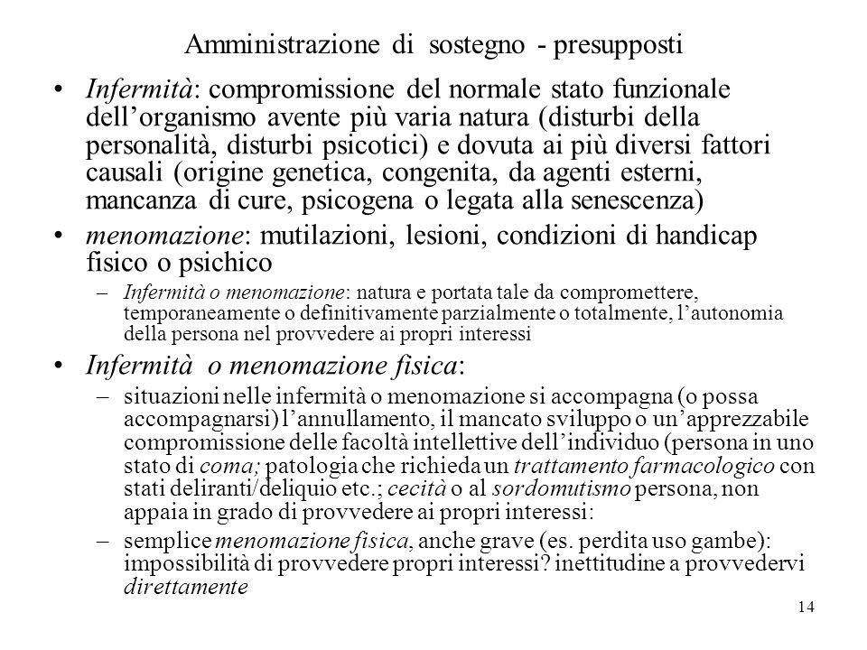 14 Amministrazione di sostegno - presupposti Infermità: compromissione del normale stato funzionale dellorganismo avente più varia natura (disturbi de