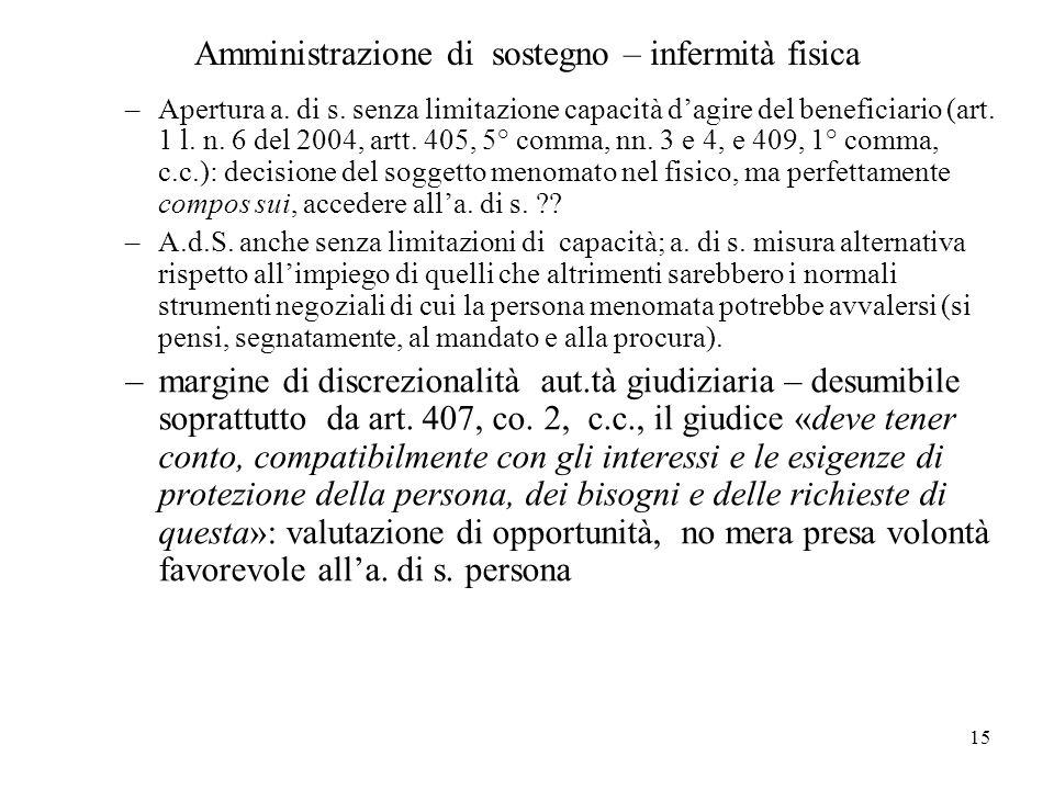 15 Amministrazione di sostegno – infermità fisica –Apertura a. di s. senza limitazione capacità dagire del beneficiario (art. 1 l. n. 6 del 2004, artt