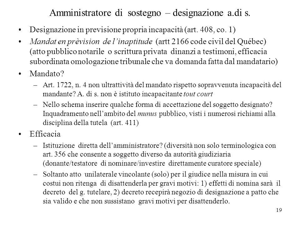 19 Amministratore di sostegno – designazione a.di s. Designazione in previsione propria incapacità (art. 408, co. 1) Mandat en prèvision de linaptitud