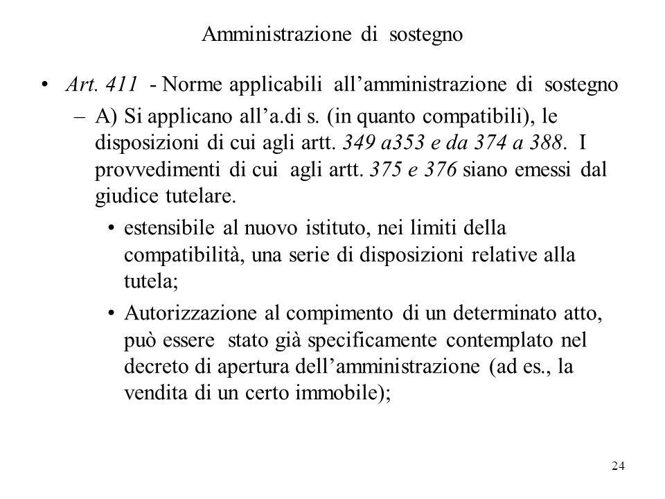 24 Amministrazione di sostegno Art. 411 - Norme applicabili allamministrazione di sostegno –A) Si applicano alla.di s. (in quanto compatibili), le dis