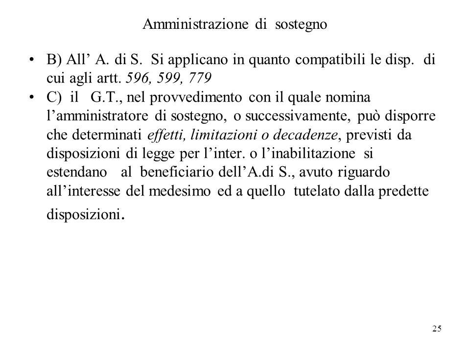 25 Amministrazione di sostegno B) All A. di S. Si applicano in quanto compatibili le disp. di cui agli artt. 596, 599, 779 C) il G.T., nel provvedimen