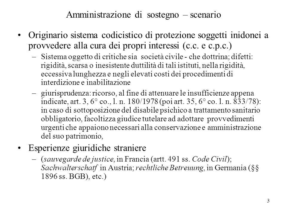 3 Amministrazione di sostegno – scenario Originario sistema codicistico di protezione soggetti inidonei a provvedere alla cura dei propri interessi (c