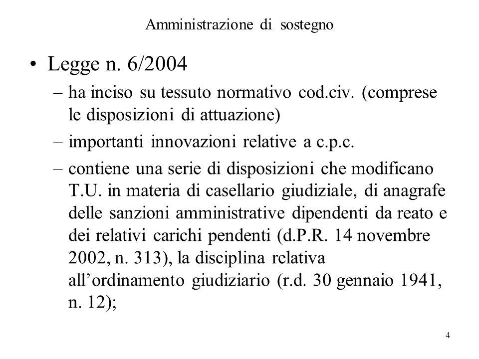 4 Amministrazione di sostegno Legge n. 6/2004 –ha inciso su tessuto normativo cod.civ. (comprese le disposizioni di attuazione) –importanti innovazion