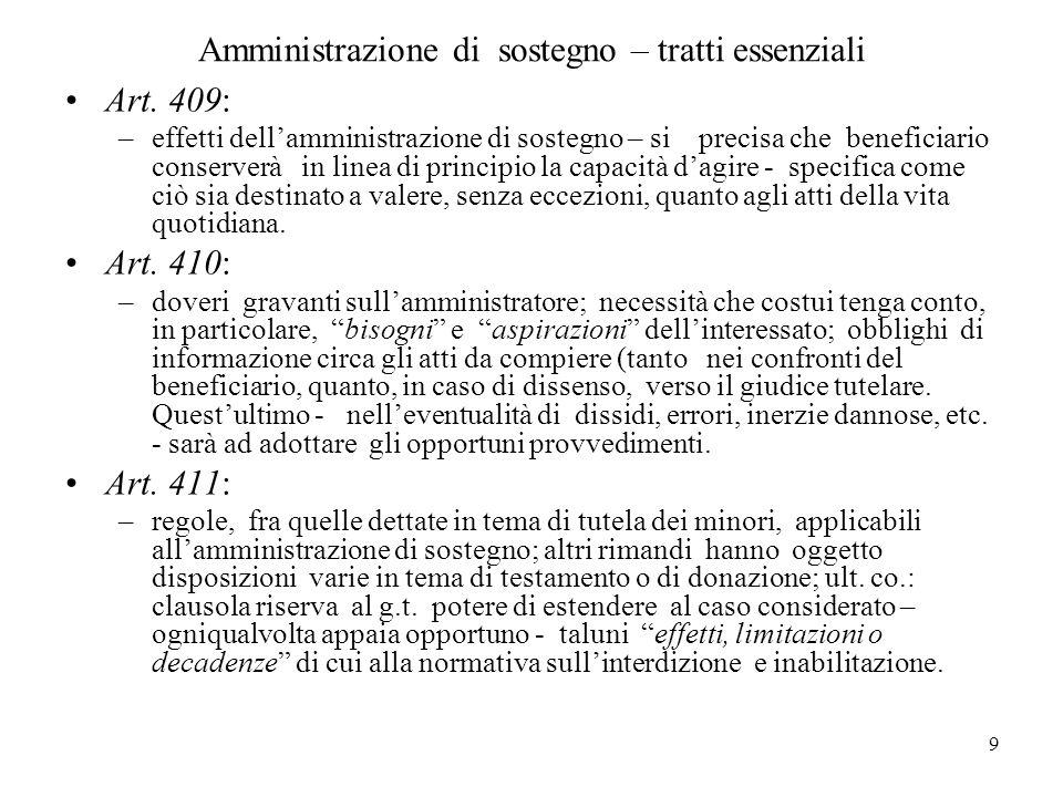 9 Amministrazione di sostegno – tratti essenziali Art. 409: –effetti dellamministrazione di sostegno – si precisa che beneficiario conserverà in linea