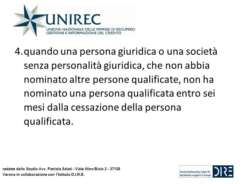 4.quando una persona giuridica o una società senza personalità giuridica, che non abbia nominato altre persone qualificate, non ha nominato una persona qualificata entro sei mesi dalla cessazione della persona qualificata.